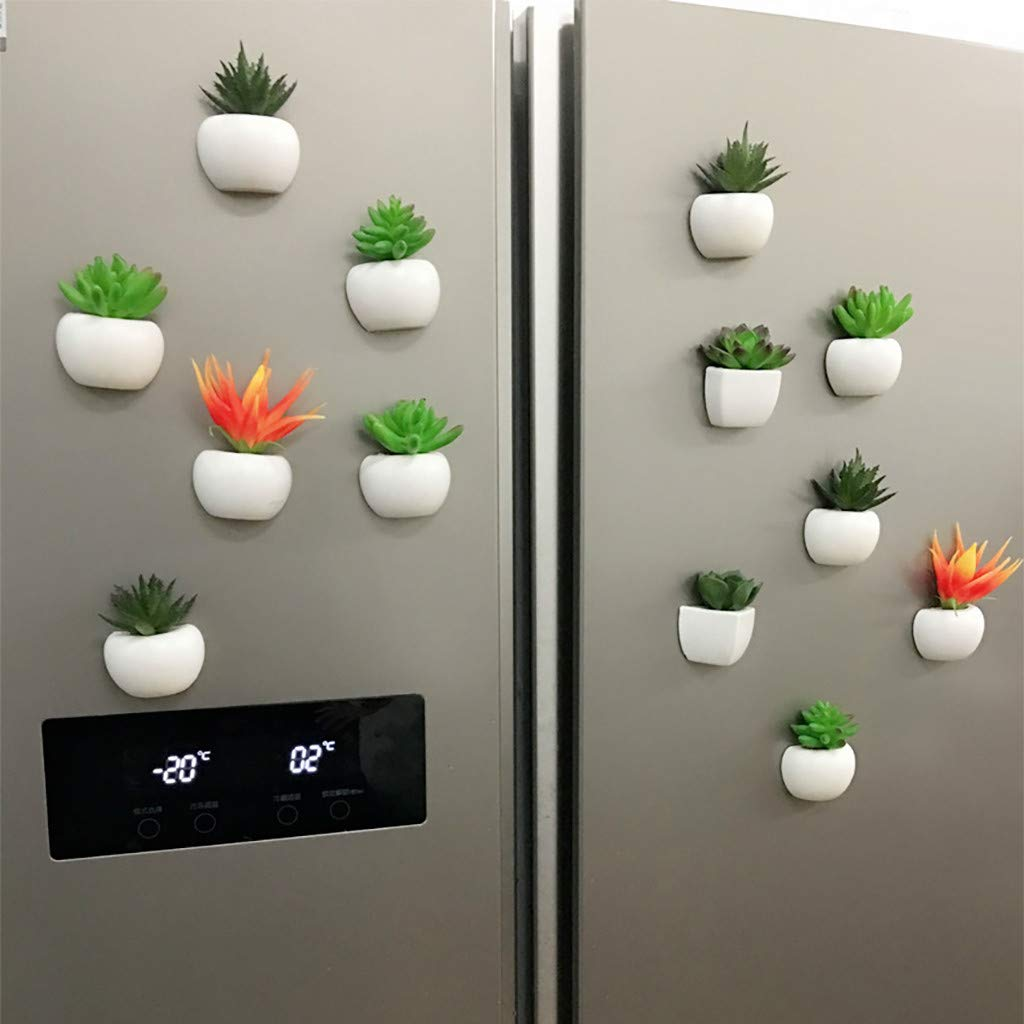 Succulent Plant Bonsai Magnet Green Plant A ToDIDAF Artificial Flower Handmade Crafts Plastic Flower Pot with Magnets for Refrigerator Sticker Wall Decorations