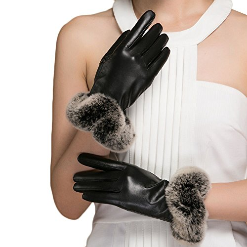 Magelier Womens Fancy Design Warm Soft Rabbit Hair Fur Cuff Genuine Nappa Leather Plush Lining Motorcycle Car Driving Gift Gloves,Black,US (Genuine Rabbit Fur Cuffs)
