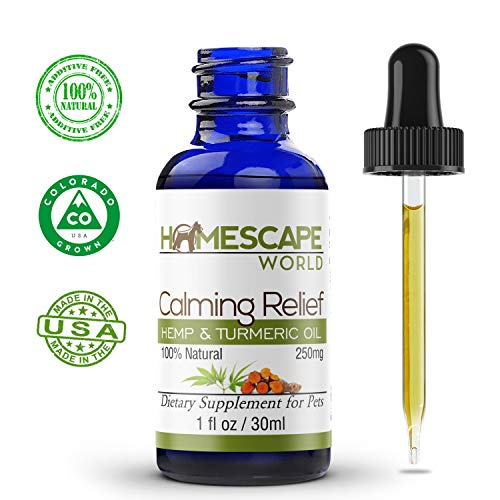 Homescape World Hempseed Oil & Turmeric - Calming Relief - Natural Hemp & Curcumin for Dogs & Cats - Calms Aches & Discomfort - Enhances Energy & Fights Inflammation - Promotes Digestive Health