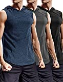 COOFANDY Men's Gym Hoodies Quick Dry Cut Off Athletic Sleeveless Tops 3 Packs