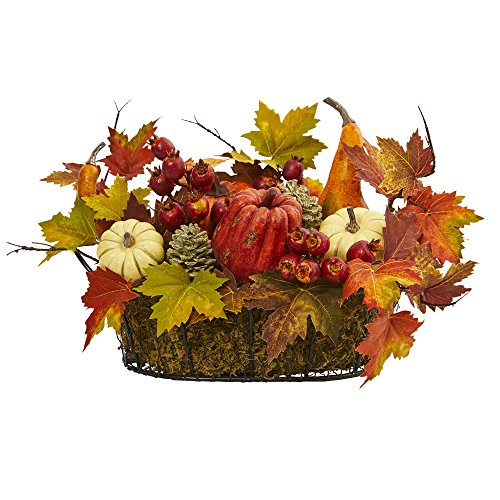 Nearly Natural Artificial Pumpkin, Gourd, Berry and Maple Leaf Arrangement, Multi/Color (Fall With Arrangements Pumpkins)