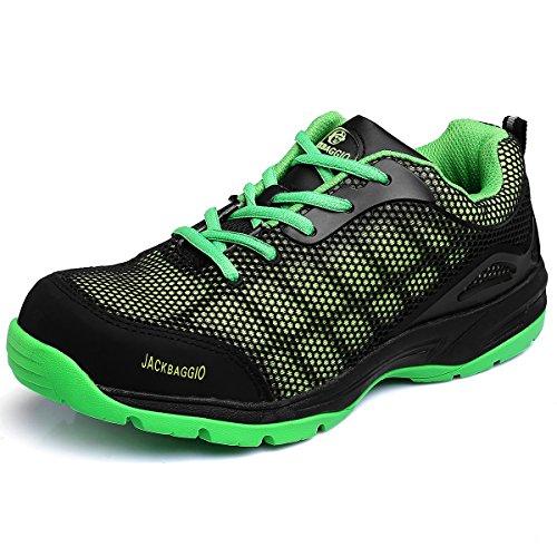 Green Toe Shoes (JACKBAGGIO Men's Athletic Steel Toe Breathable Mesh Lightweight Work Shoes 8824 (8.5, Green))