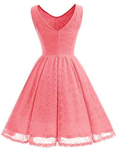 Short Floral Dress Coral V Prom ALAGIRLS Back Dress Lace Women Bridesmaid Party YB5q1wg