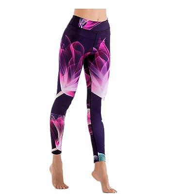 Fuxitoggo Damas Patrones Impresos Pantalones Delgados Delgados del Funcionamiento de Las Polainas Gimnasio Pantalones Pantalones de Yoga Leggings (Color : Púrpura, tamaño : S): Ropa y accesorios