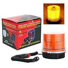 YaeTact Emergency Flash Strobe Rotating Round 30 LED Beacon Warning Light 12W (Amber)