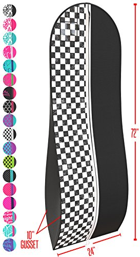 "Gusseted Gown Garment Bag for Women's Prom and Bridal Wedding Dresses - Travel Folding Loop, ID Window-72"" x 24"" with 10"" Tapered Gusset - Black and White Checkered - by Your Bags by Your Bags"