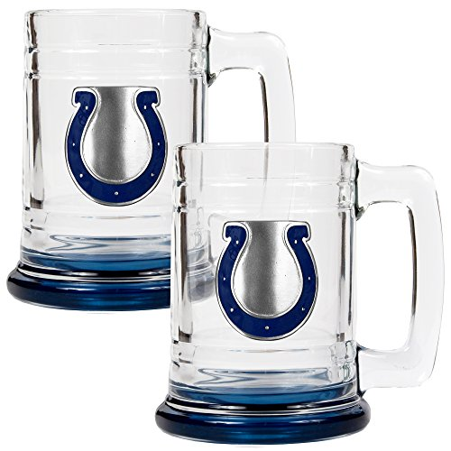 - NFL Indianapolis Colts Accented Glass Tankard Set (2-Piece), 15-Ounce, Clear