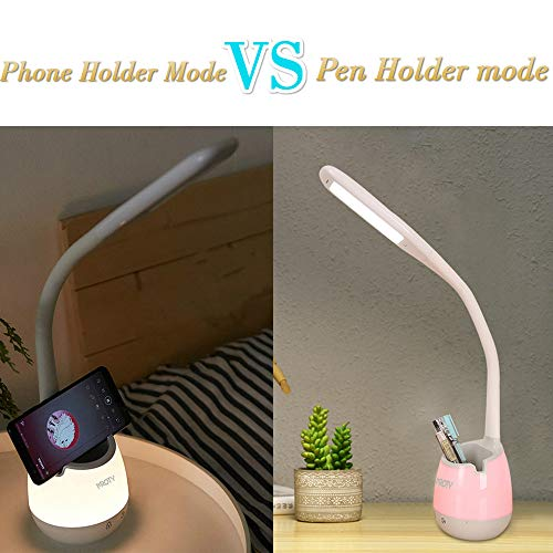 Dimmable Desk Lamp with Pencil Organizer, Phone Holder Night Light with 2 Color Modes 3 Brightness, Eye Caring Table Lamps for Dorm Room Study Desk Bedside
