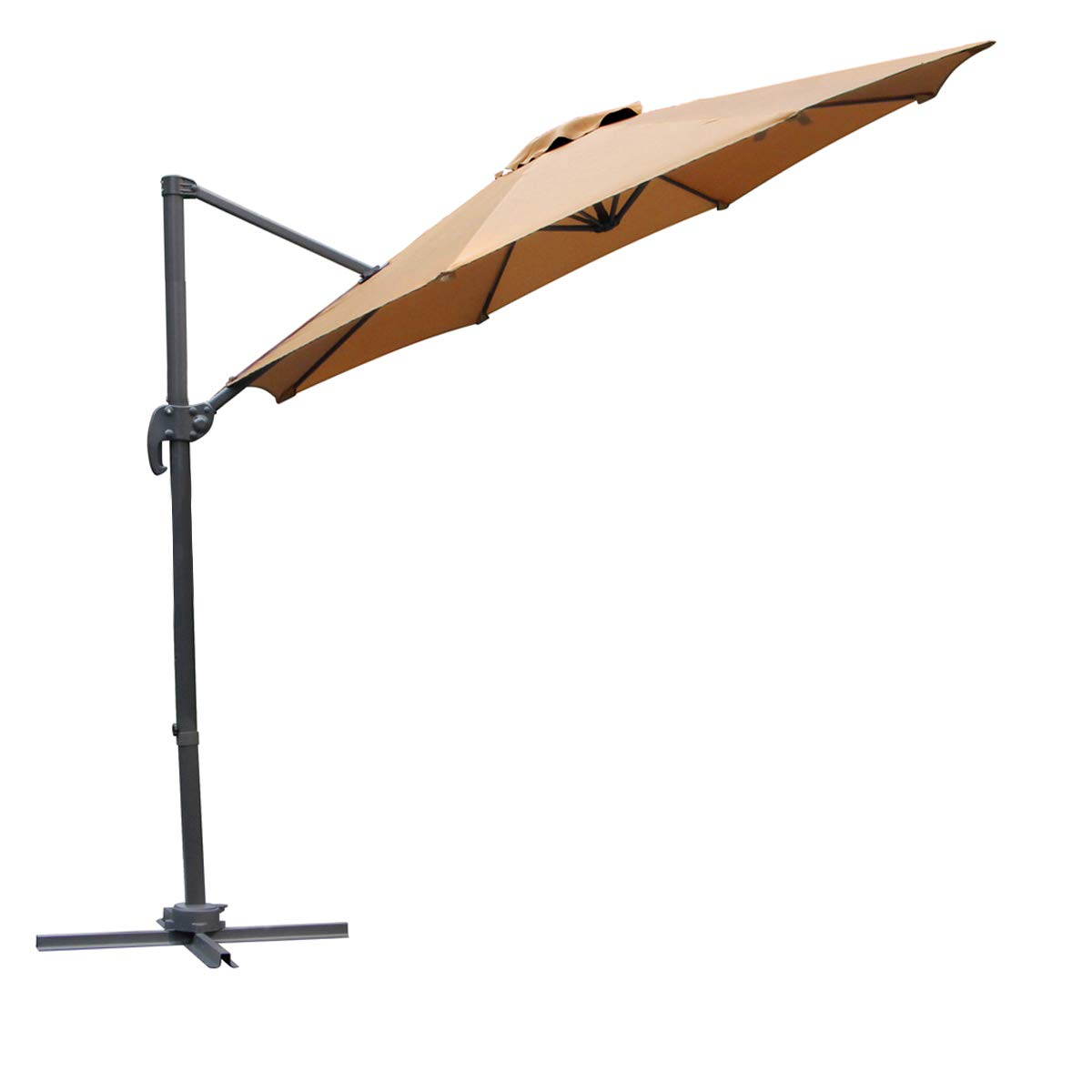 U-MAX Patio 10 FT Cantilever Offset Umbrella Outdoor Hanging Umbrella 360° Rotation with Cross Base, Beige