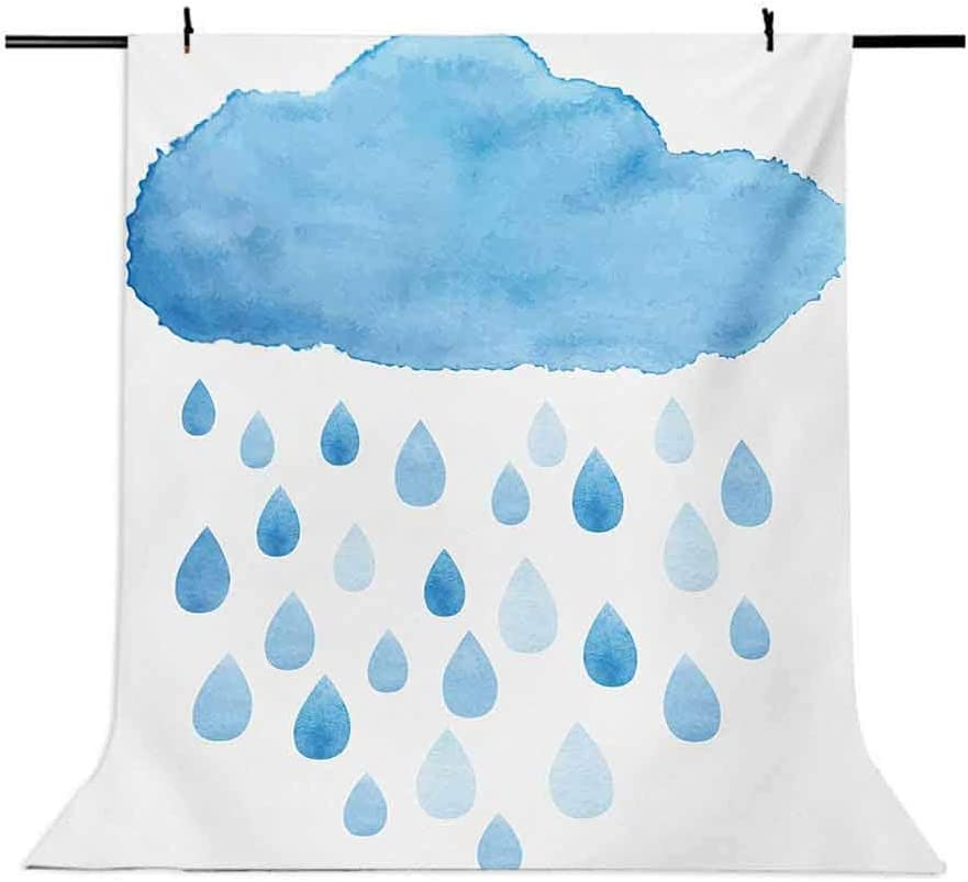 10x12 FT Photo Backdrops,Rain Drops and Cloud in Watercolor Painting Effect Cute Nimbus Fun Art Illustration Background for Baby Shower Birthday Wedding Bridal Shower Party Decoration Photo Studio