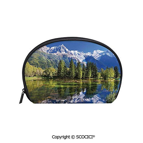SCOCICI Printed Small Travel Toiletry Cosmetic Pouch Snowy Mountains Evergreen Spruce Reflected in Lake City Park Chamonix France Handy Daily Storage Makeup Bag