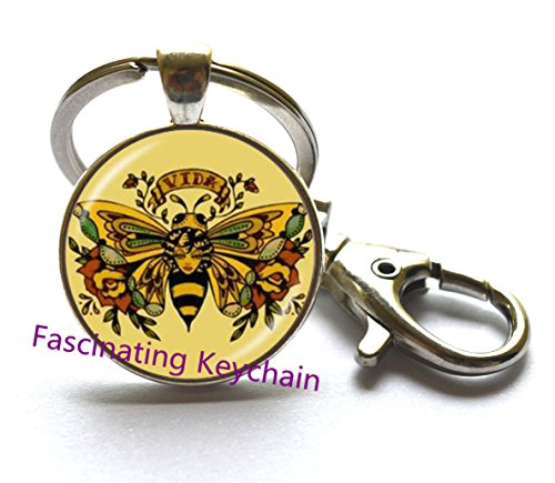 Jewelry Diva Gifts (Queen Bee Keychain - Honeybee Keychain Bumble Bee Jewelry Entomology Jewelry For Divas Art Key Ring Royal Crown Gift For Her,AE0120)