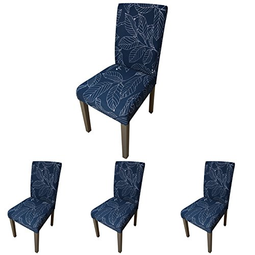 ColorBird Plant Series Spandex Dining Chair Slipcovers Removable Universal Stretch Chair Protective Covers for Dining Room, Hotel, Banquet, Ceremony (Set of 4, Navy Leaf)
