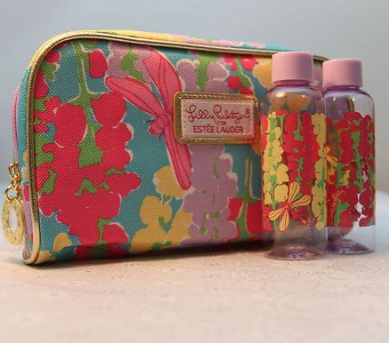 Estee Lauder Lilly Pulitzer Snapdragon Print Cosmetic Bag wi/ 2 Travel Bottles (Estee Lauder Makeup Travel Bag)