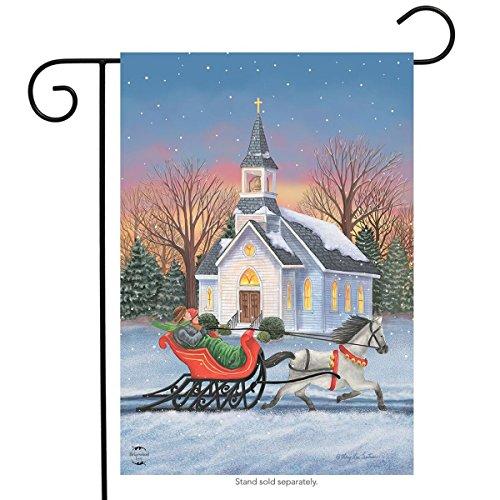 Briarwood Lane One Horse Open Sleigh Christmas Garden Flag Winter Church 12.5