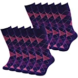 Casual Dress Socks, SUTTOS Men's Crew Socks Fashion Patterned Dress Socks Plaids Cotton Breathable Warm Soft Mid Calf Long Tube Socks Purple Argyle Groomsmen Groom Wedding Socks Luxury Cool Dress Socks,12 Pairs