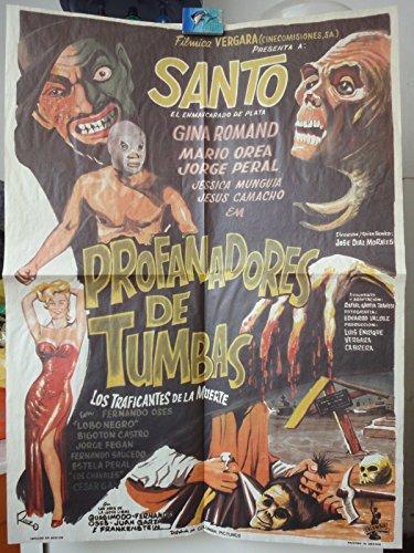 Mexican Re-release Movie Poster Santo El Enmascarado De Plata Profanadores De Tumbas 1966