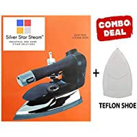SILVER STAR STEAM Industrial Electric Steam Iron Es-3 with 4.0L Movable Water Tank 1000W, 220V with Steam-Press Teflon Shoes (Black)