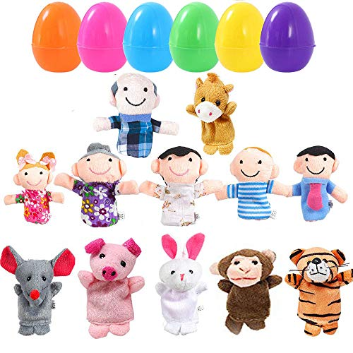 smilornbsp 12pcs Easter Eggs Filled with Finger Puppets,Easter Eggs Hunt,Basket Stuffers Fillers,Party Game Prizes,Filled Surprise Eggs,School Classroom Prize Rewards Toys (Finger Puppets 12pcs)