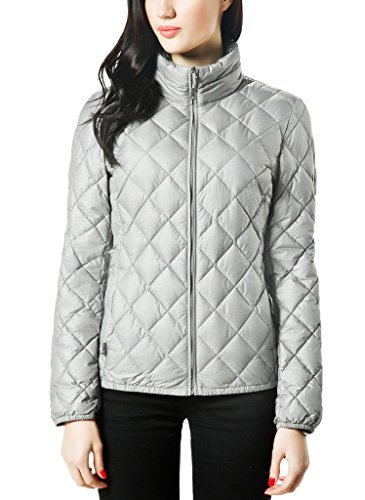 XPOSURZONE Women Packable Down Quilted Jacket Lightweight Puffer Coat SH.Ash Melange S