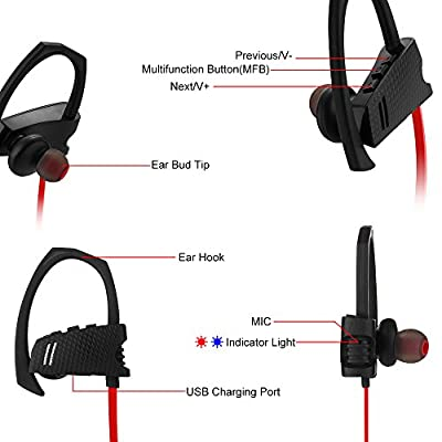 Sunvito Bluetooth Headphones IP4 Waterproof Sport Earbuds V4.1 Wireless In-ear Noise Cancelling Stereo Headsets with MIC & Secure Ear Hooks Design for Running Workout Gym Earbud Bag Included (Red)