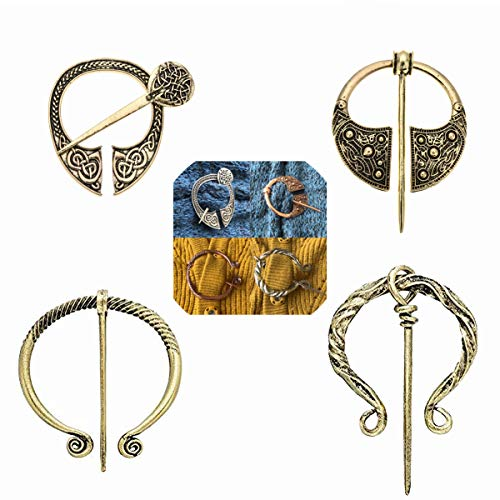 Lilbetter-Club 4 Pack Women Vintage Viking Brooches Pins Scarf Cloak Shawl Buckle Clasp Pin Brooch, Decorative Penannular Clothes Costume Accessories Fashion Jewelry for - Vintage Copper Brooch
