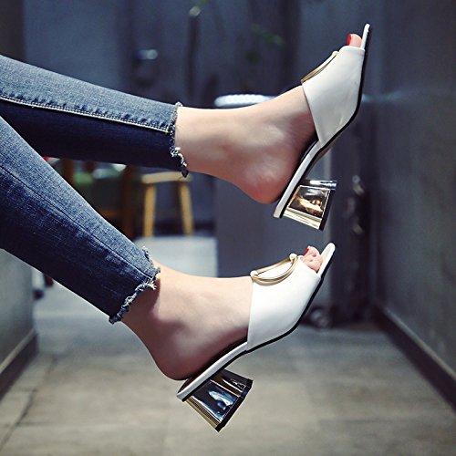 YMFIE Señoras Sandalias Moda veraniega Piscina Cierres metálicos Toe High Heels cómodas Zapatillas de Playa Antideslizante. white