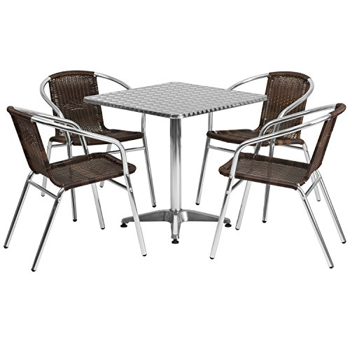 Flash Furniture 27.5'' Square Aluminum Indoor-Outdoor Table Set with 4 Dark Brown Rattan Chairs (Table Buy Outdoor And Chairs)