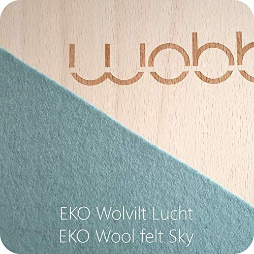 Wobbel Wobbelboard PRO transparent lackiert mit Filz Sky blau
