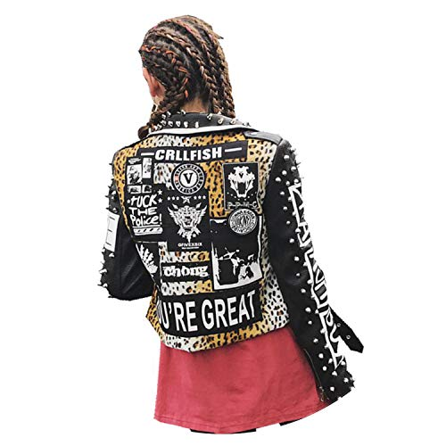 Princesser Punk Wild Leopard Rivet Jacket 2018 Women Rock PU Leather Motorcycle Band ()