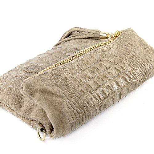 T54 Bandolera de Piel Italiana, Clutch para llevar bajo brazo, pequeño (piel de napa) Beige Wildleder/Kroko