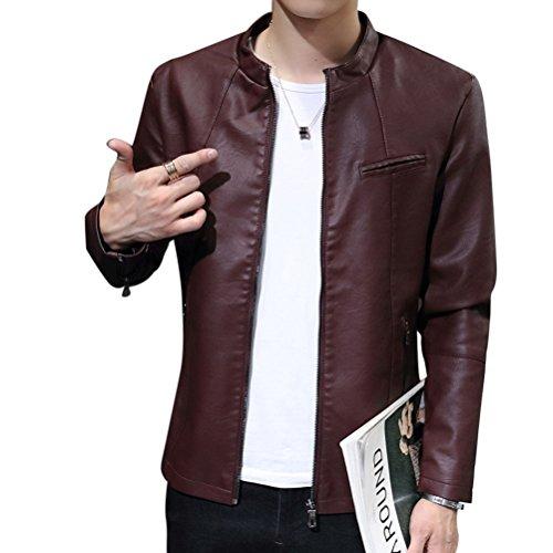 Slim In Cappotti Giacchetta Capispalla Pelle Vino Biker Basic Pu Giacche Fit Rosso Uomo Cappotto 6qSdBB