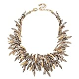 Jane Stone Statement Rhinestone Leaves Chip Choker Collar Bib Necklace Chunky Bling Cluster Jewelry