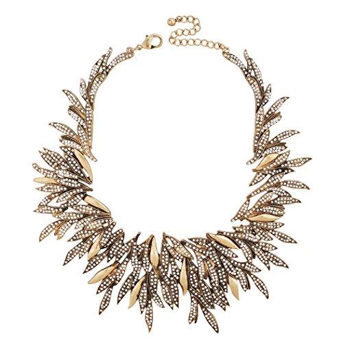 "Jane Stone Gold Tone Statement Zirconia Sipke Chips Cluster Choker Collar Bib Necklace Gorgeous Women Shining Crystal Bridal Wedding Party Jewelry Elegant 25.2""(Fn1713)"
