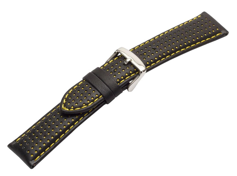 24 mm穴あきパッド入りGenuine Calfskin Watch Band withイエローステッチとパディング  B01MXO5W9F