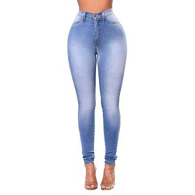 ADELINA Pantalones De Mezclilla para Damas Pantalones Ajustados De Ropa Cintura Alta Pantalones Vaqueros Delgados Pantalones con Botones Bolsillos De Mezclilla Pantalones Casuales: Ropa y accesorios
