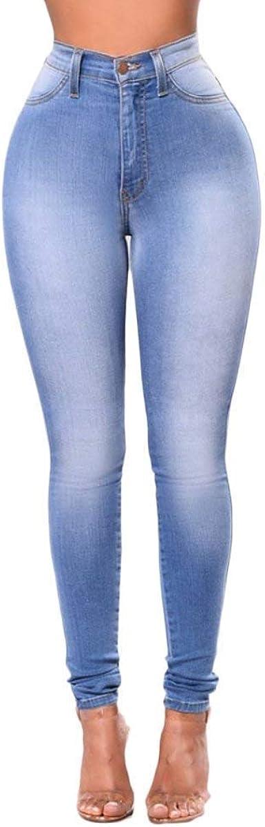 Saoye Fashion Moda Para Mujer Pantalones De Mezclilla Elasticos Retro De Cintura Ropa Alta Ajustados Jeggings Ajustados Jeans Bolsillos Delanteros Boton Pantalones Lapiz Amazon Es Ropa Y Accesorios