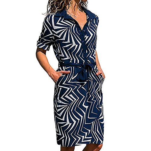 DEATU Hot Sale! Ladies Dress Women Casual Striking Print Roll up Long Sleeve Button Down Tie Waist in Mini Dress(Navy,XL) -