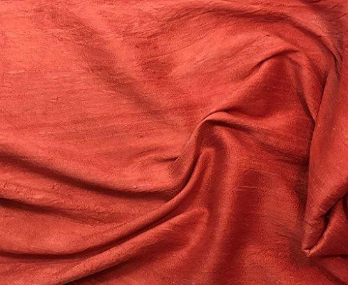 Hand Dyed Silk Dupioni Fabric (-By the Yard-, Blood Orange)