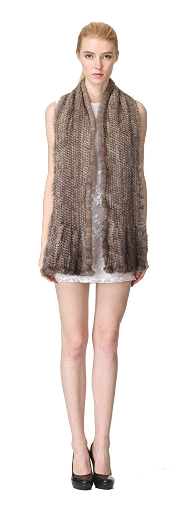 vogueearth Donna Vero A Maglia Visone Pelliccia Autunno Inverno Lungo  Sciarpa Cachi  Amazon.it  Abbigliamento b8492c0b8f14