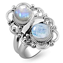 4.20ctw,Genuine Rainbow Moonstone 8x8mm Round & .925 Silver Overlay Handmade Rings Made By Sterling Silver Jewellery