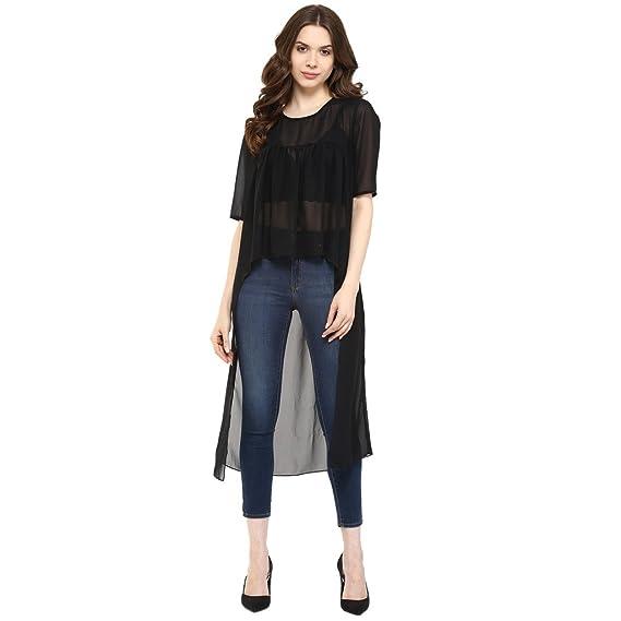 551b7c004d5ea Pannkh Women s Black Cotton Asymmetric Solid Top  Amazon.in ...