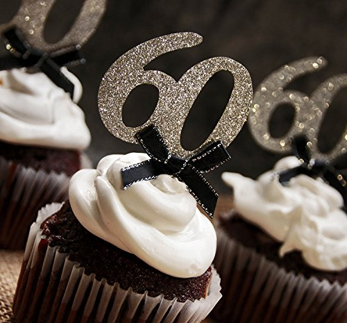 Silver Glitter 60 Cupcake Toppers with Black Bows Pack of 24, for 60th Birthday or Anniversary Party ()