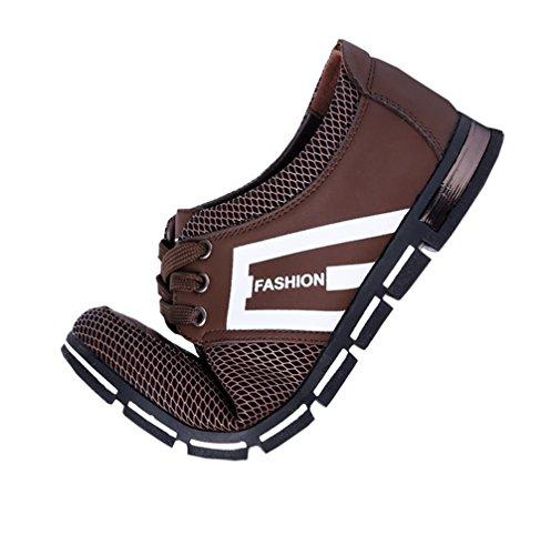 Besporter Zapatos de Cuero con Cordones para Hombre Mocasines de ocio Zapatillas de deporte Marr¨®n