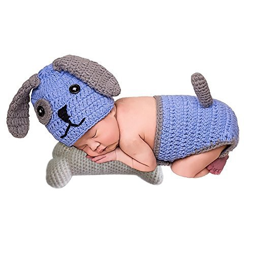 UOMNY Baby Newborn Photography Props Cute Dog and bone Handmade Crochet Knitted Unisex Baby Cap Outfit