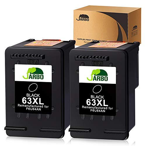 JARBO Remanufactured for HP 63XL 63 Black Ink Cartridge, HP 63 XL, 2 Black, for HP Envy 4520 4516 Officejet 4650 3830 3831 3833 4655 Deskjet 1112 3630 3632 3633 3636 3637 Ink Level Display