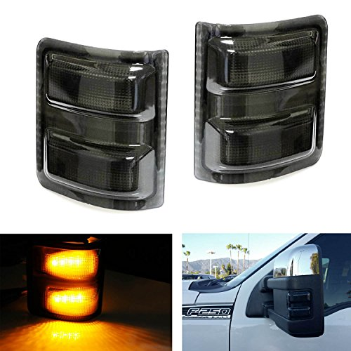 iJDMTOY (2) Smoked Lens Amber LED Side Mirror Marker Lights Set For 2008-2016 Ford F-250 F-350 F-450 F-550 Super - Lenses Side Recon Mirror