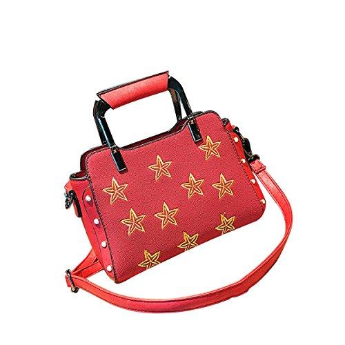 DHFUD Bolso De Hombro De Las Mujeres Bolso Cruzado PU De La Estrella Manera Clásico Red