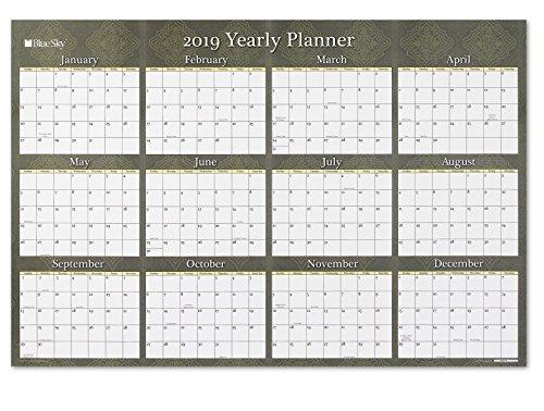 Blue Sky 2019 Laminated Erasable Wall Calendar, January 2019 - December 2019, Double Sided, 36 x 24, Adriana
