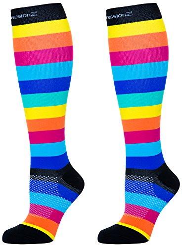 Compression Socks (Rainbow Stripes XL/ 20-30mmHg) Men & Women Fun Running Casual Socks